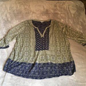 lucky brand boho olive green blouse size 3x